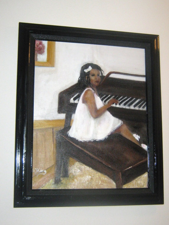 Original Oil Painting Girl Playing the Piano Original Art