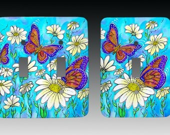 Butterflies on Daisies Switchplate, Lightswitch Cover, Lightswitch Plate