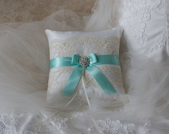 Wedding Ring Bearer Pillow Aqua Blue And Ivory Satin And Lace Ringbearer Pillow