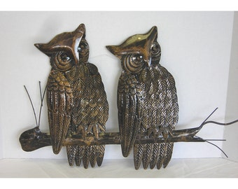 Owls Metal Wall Hanging/Plaque 1960s HongKong Vintage Pair (2)