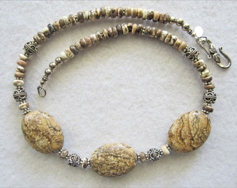 Picture Jasper & Silver Necklace