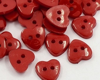 Red Heart Buttons - 12mm - Set of 50 - #BUTTON244A