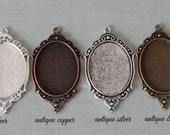 10 Antique Style 30x40mm Oval Filigree Pendant Trays  Choice of Antique Bronze, Antique Copper