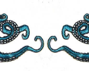 Small  Pair Octopus Iron on Patch in Teal