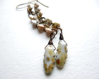 Rustic Asymmetrical Dangle Earrings, Picasso Czech Glass and Brass