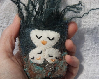Mother Owl Talisman ...Mothers Love eco friendly wool (woolcrazy)