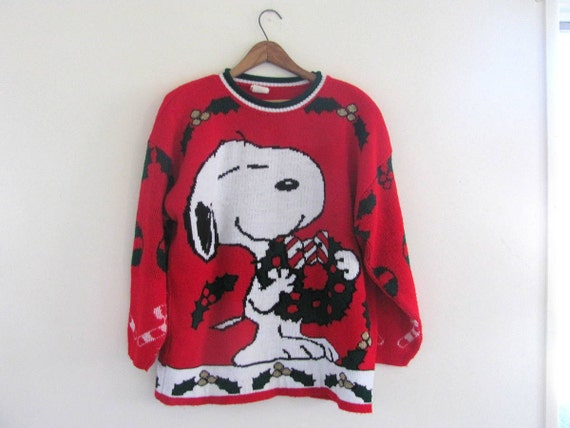 80s SNOOPY sweater. Christmas sweater. by dirtybirdiesvintage