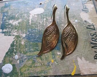 The Kelli Earrings - Vintage Metal Leaf Earrings
