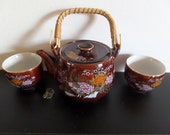Vintage Asahi Japan Tea Set With Teapot and Two Cups - Brown With Peacock Design
