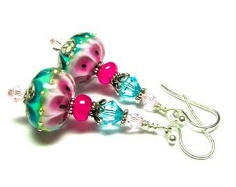 Pink Earrings Turquoise Earrings Lampwork Earrings Handmade Earrings Glass Earrings Handmade Jewelry, Artisan Earrings, Beaded Earrings