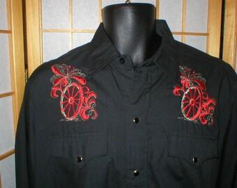VTG 80s H Bar C black embroidered western shirt mens size Xlarge