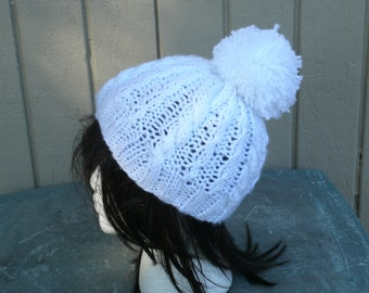 Hand Knit Hat - The Snowball in White -  Womens Hats - Mens Hats