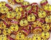 Vintage 10 Gold Plated Fuschia Crystal Embellished 8mm Spacer Beads GR8