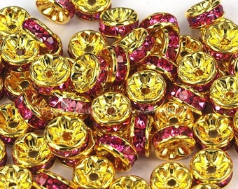 Vintage 10 Gold Plated Fuschia Crystal Embellished 8mm Spacer Beads GR8
