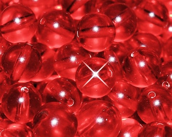 Vintage 36 Cherry Red Crystal Clear 10mm Lucite Beads CL2