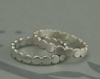 Bubble Band--Sterling Silver Whimsical Stacking Ring or Band--925 Silver Beaded Band--Circle Ring--Hand made to Size Just for YOU