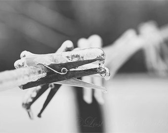 Ice Photograph, Black and White, Rustic Wall Decor, Clothes Pins, Clothes Line, Snow Photo, Grey, Adirondack Decor, Fine Art Photography