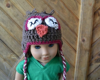18 inch Doll Clothes - Crocheted Beanie with Ear Flaps - Sleepy Owl - MADE TO ORDER - fits American Girl