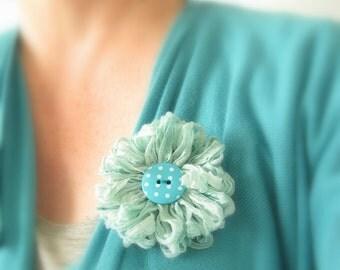 Flower Brooch in Seafoam Blue