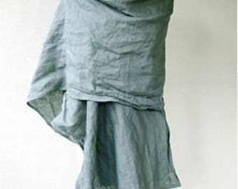 Pale sage green very large linen shawl wrap scarf