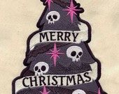 Spooky Christmas Tree Appliqued Embroidered Patch, Sew or Iron on