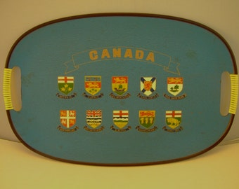 Vintage 1960s Hand Painted Souvenir Serving Tray - Canada Flags - Made in Japan