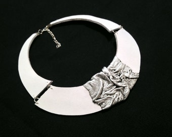 White and silver color leather necklace Bib necklace Statement collar Leather jewelry