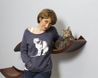 Cat sweater, cat lover gift, cat shirt, off the shoulder, dancer style, workout, womens sweatshirt, I Have Cat, girlfriend gift, boho chic