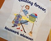 Quilter Machine Embroidered quilt block - ready to sew or frame  10 inch square