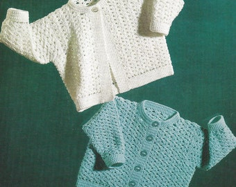 PDF Crochet Pattern Baby Patterned Cardigans to fit sizes 3/6 months (X348)