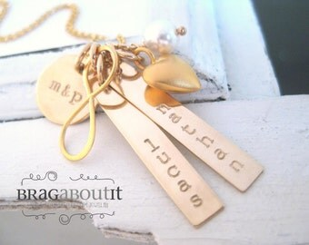 Personalized Hand Stamped Necklace . Personalized Jewelry . Brag About It . 14K Gold Filled . Family X Infinity