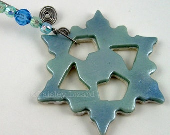 Blue and White Snowflake Ornament, pearl and metallic polymer clays, decorative gift tag