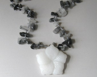 White Hibiscus Flower necklace, black and white quartz chip beads with carved flower pendant, statement jewelry