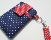 WRISTLET strap cellphone case,iPhone 5 5s 5c,Galaxy S4 S5 Note 3,Droid,HTC,LG,Moto X,Nokia,iPod classic sleeve cover -Red chevron blue dot