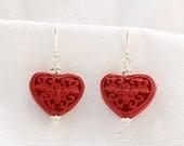 Heart-Shaped Cinnabar Earrings