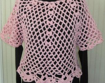 Pretty Pink Pullover Crochet Small