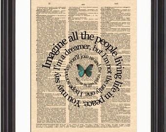 Imagine Song Lyric Art Print, John Lennon's Imagine Song Art, The Beatles Music Art, Dictionary Page Art, Spiral Song Lyric Art