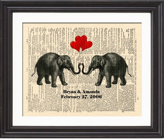 14th Year Wedding Anniversary Gift: Elephant Love Art Print Names And Date Art By WordsandMusicArt