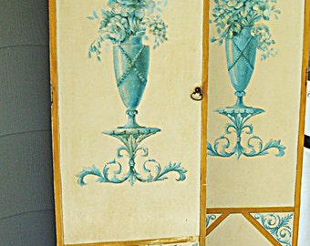 Pair of Antique French, Hand Painted, Wooden Boudoir Doors c.1920's (or earlier) - original hinges and knobs