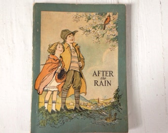 "1927 ""After the Rain"" Cleanliness Institute Childrens Hygiene School Book"