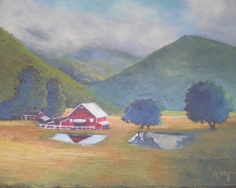 "Rural Landscape, Daily Painting, Farm Painting ""Valley View"" by Carol Schiff, 16x20"" Oil"