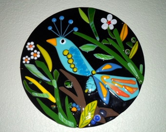 Mother's Day gift - Fused Glass Blue Bird Flower Plaque Wall Art Whimsical Decor