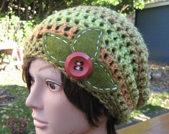 Green Crocheted Slouch Hat 253/13