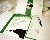 SAMPLE Bear and Bird Pocketfold Wedding Invitation, Cream, Green, Chocolate Brown, Rustic Modern, Thank You, RSVP, Save the Date Card