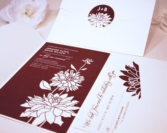 NEW SAMPLE Three Dahlia Blooms Pocketfold Wedding Invitation, Wine, Cream, Flowers, Garden, Outdoor, Bouquet, Bellyband, Sticker, RSVP