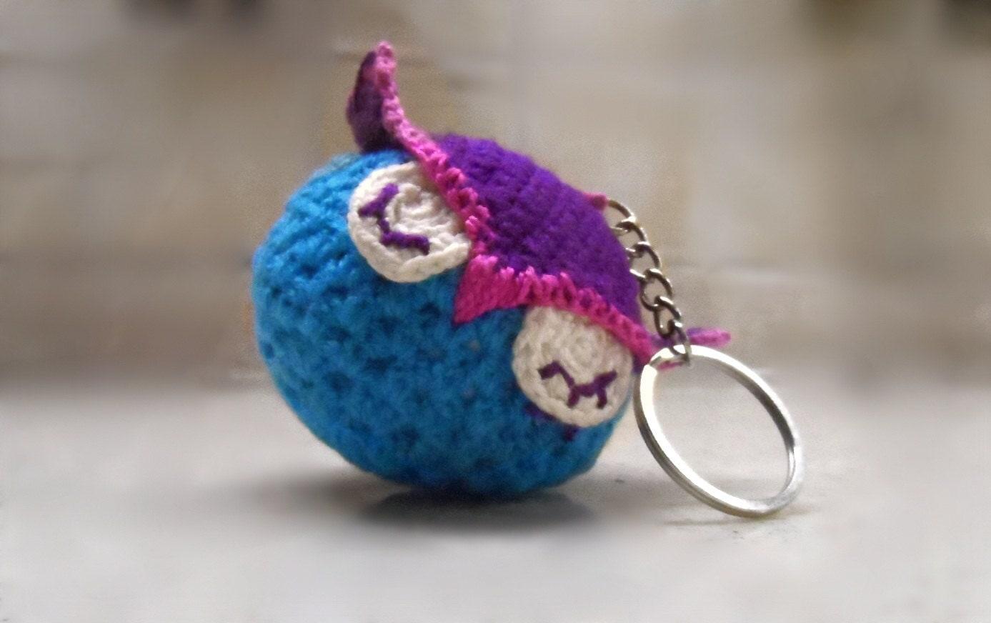Amigurumi Keychain Loop : Handmade Crochet Owl Keychain Amigurumi Owl Key Ring
