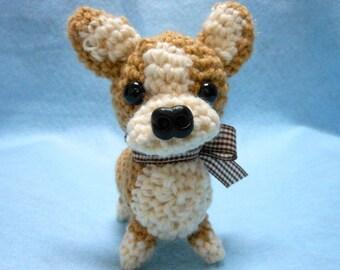 Welsh Corgi Crochet Dog in Tan and Cream, Amigurumi, Canine, Stuffed Dog, Stuffed Animal, Dog Lover