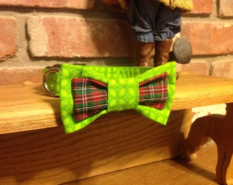 Christmas Adjustable Dog Collar with contrasting Bow Tie