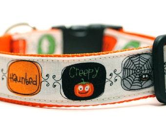 SALE Happy Halloween Dog Collar / FREE US Shipping / Ghosts and Goblins / Custom Dog Collar