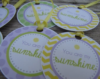 Sunshine Baby Shower Decorations, You Are My Sunshine Baby Shower Decor, Baby Shower Décor, Sunshine FAVOR TAGS, You Choose The Colors